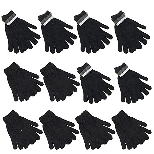 Gelante 12 Pairs Adult Winter Knitted Magic Stretch Gloves -2096G-12Pairs-Black