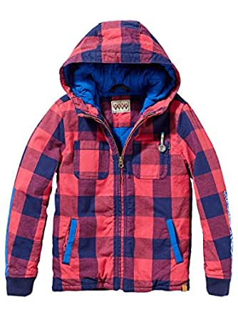 Scotch & Soda Kids Big Boys' Hooded Check Jacket (Kid) - Red/Navy - 8