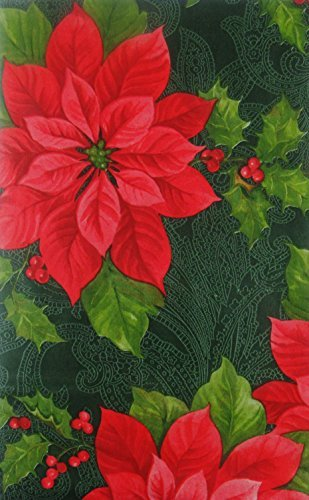 Happy Holiday Poinsettias and Holly Vinyl Flannel Back Tablecloth (Green, 52