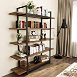 Tribesigns 5-Tier Rustic Bookshelf, Vintage Industrial Style Bookcase 70 '' H x 9'' W x 47''L, Dark Walnut