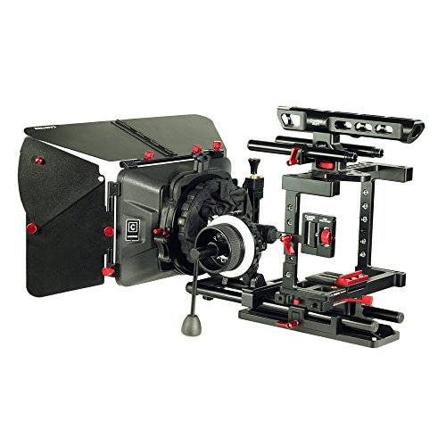 CAMTREE Hunt Grand DSLR Camera Cage Kit for Sony A7S/A7S2/A7SII/A7R/A7RII, Canon 5D/7D, Panasonic GH4 with Matte Box, Follow Focus, 15mm Rod Support & Dovetail Tripod Plate (CH-GRND-CKIT) by Camtree