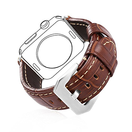 Bandmax Compatible Apple Watch Band Leather 42MM 44MM Brown,Premium Genuine Leather Wristband Accessories Compatible iwatch Series 4/3/2/1 Mix Stainless Steel Metal Clasp Buckle