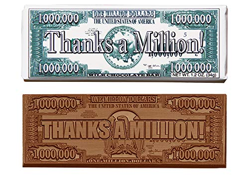 Thanks A Million Chocolate Bars (sold in sets of 50) Engraved Candy Gifts for Clients, Staff & Employees by Promos On-Time (Image #1)