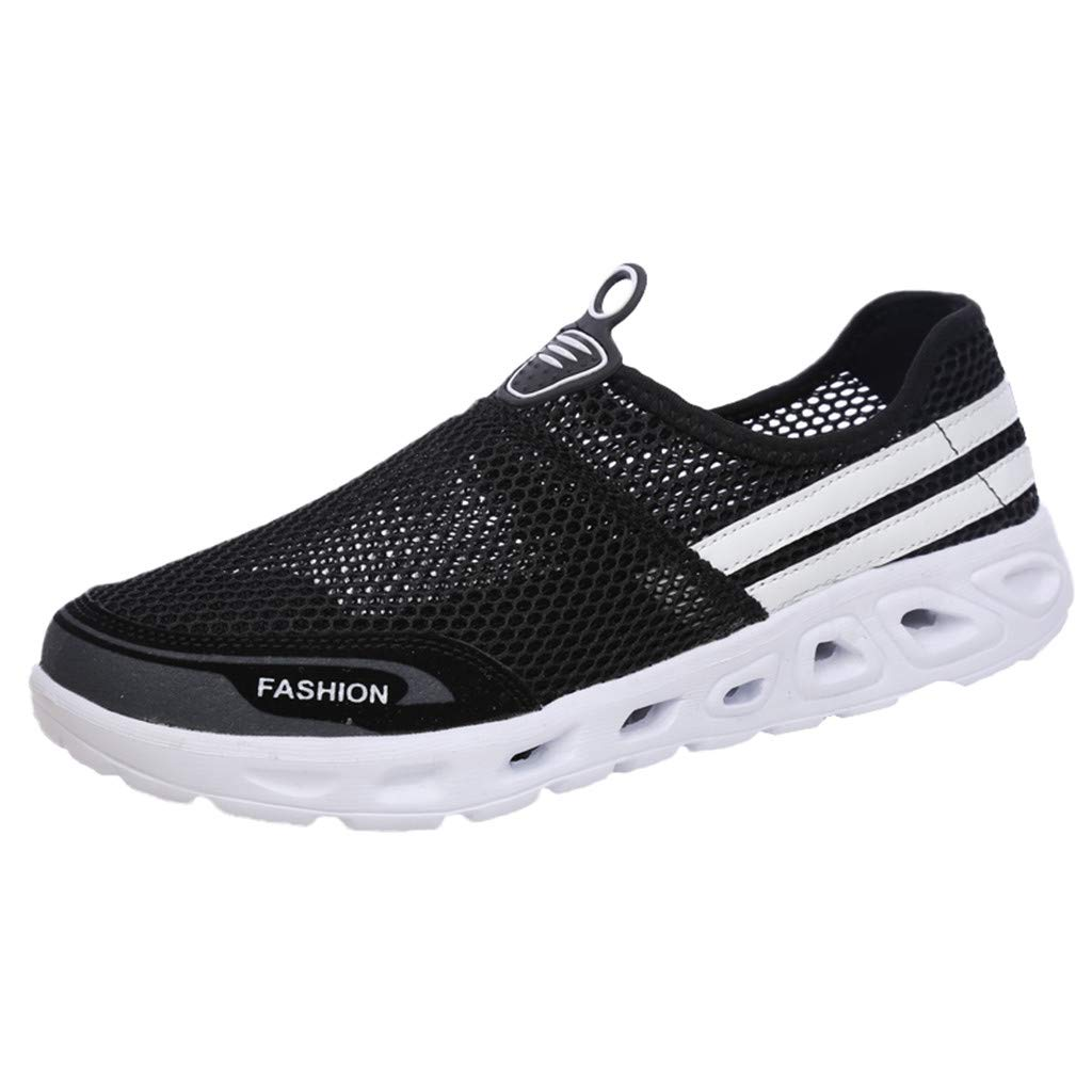 Londony ✡ Men's Lightweight Quick Drying Water Shoes Athletic Sport Walking Shoes Fashion Women Breathable Slip on Shoes Black