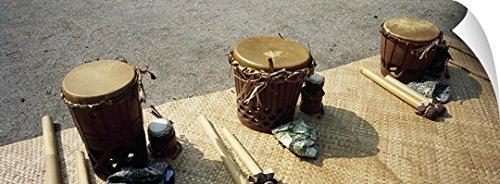 Canvas On Demand Wall Peel Wall Art Print entitled Traditional drums used for Hula performance, 48th Annual Hawaiian Cultural Festival, Puuhonua o Honaunau National Historical Park, Honaunau, - Kona Performance Island