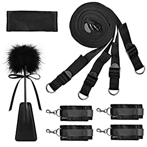 Sex Bondage BDSM Kit UTIMI Restraints Set Sex Toys with Hand Cuffs Ankle Cuff Bondage Collection & Blindfold & Tickler Included - Health Net Store USA