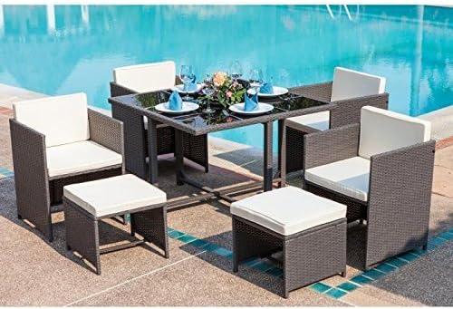 Salon de jardin Carioca 4 fauteuils et 2 poufs en résine tressée ...