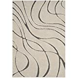 Safavieh Florida Shag Collection SG471-1180 Cream and Grey Area Rug (6' x 9')