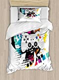 Lunarable Gamer Twin Size Duvet Cover Set, Modern Console Game Comtroller with Halftone Motif and Color Splashes Background, Decorative 2 Piece Bedding Set with 1 Pillow Sham, Multicolor