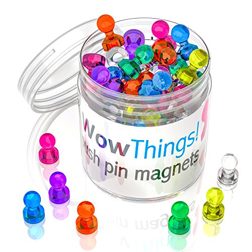 (Push Pin Magnets, 28 Pack Assorted Colored Kitchen Office Magnets, Neodymium Mini Fridge Magnets Strong, Heavy Duty Push Pins, Perfect For Classroom Map Dry Erase Whiteboard Magnets, Teacher Magnets)