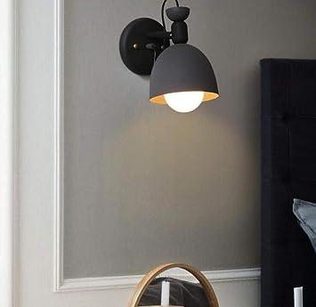 Mkjbd Linterna de Pared Lámpara de Jardín Lámpara de Pared Lámpara de Pared Lámparas de Pared Ajustables Lámpara de Pared Creativa de Estilo Vintage Lámpara de Metal Negro Cuerpo Pantalla Redonda, Ne: