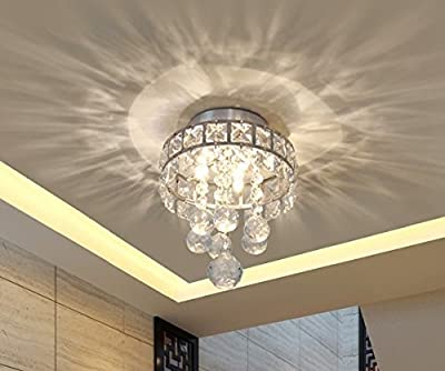 Mini Style 3-Light Chrome Finish Crystal Chandelier Pendent Light for Hallway,Bedroom,Kitchen,Kids Room,3x1W LED Bulb Included, Warm White Light