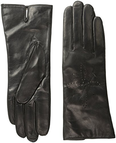 BADGLEY MISCHKA Women's Laser Cut Glove, Black, 7.5