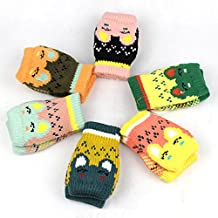 Children Kids Bunnies Unisex Winter Double-deck Thicken Warm Gloves Fingerless Half Open Cotton Mittens