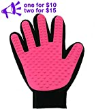 petbob Pet Grooming Glove,Pet Deshedding Glove,Soft Gentle Pet Bath Massage Mitt,Silicone Pet Dematting Hair Removal Brush Glove Comb, For Long and Short Haired Dogs Cats Bunnies (pink)