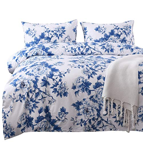 SexyTown French Country Garden Toile Floral Printed Duvet Quilt Cover Egyptian Cotton Bedding Set Super Soft & Breathable Blue and White Porcelain Print Cal King Pattern H