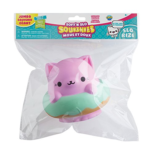 "The Orb Factory Jumbo Kitty Donut Soft'n Slo Squishies, Pink/Green, 10.83"" x 9.25'' x 3.50"""