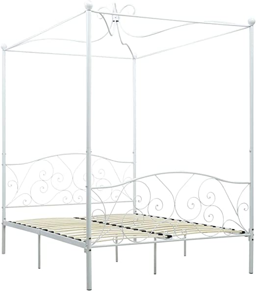 Festnight Himmelbett-Gestell Doppelbett Metallbett Bettrahmen Lattenrost Schlafzimmerbett Schlafzimmerm/öbel Wei/ß Metall 120 x 200 cm