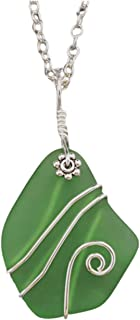 """product image for Handmade in Hawaii, wire wrapped""""emerald green"""" sea glass necklace,""""May Birthstone"""", (Hawaii Gift Wrapped, Customizable Gift Message)"""