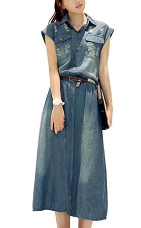 Runyue Vintage Vestido para Mujer Clásica De Mezclilla Elástica Plisada Tamaño Grande Color Liso Partido Jeans
