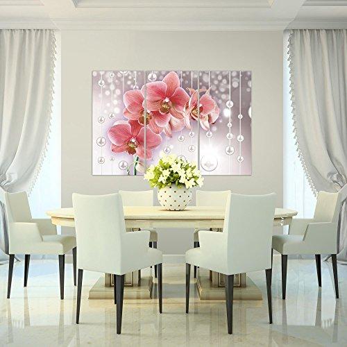 Bilder-Blumen-Orchidee-Wandbild-120-x-80-cm-Vlies-Leinwand-Bild-XXL-Format-Wandbilder-Wohnzimmer-Wohnung-Deko-Kunstdrucke-Pink-3-Teilig-100-MADE-IN-GERMANY-Fertig-zum-Aufhngen-208131a
