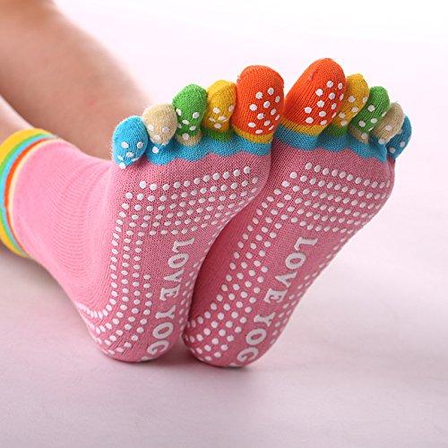 DoGeek Chaussettes Pilates Femme Chaussettes Antiderapantes de l/'adh/érence pour Yoga Chaussette