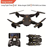 VISUO Drone With Camera Live Video, Upgrade Shark XS809HW Wifi PFV Drone With 120° Wide-angle 720P HD Camera Foldable Drone- Altitude Hold, 3D Flip, APP Control, 20min Long Flying Time