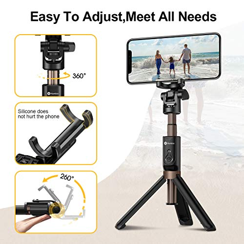 Humixx Selfie Stick, Buletooth 4-in-1 Extendable Selfie Stick Tripod 360° Rotation, Rechargeable Wireless Remote Shutter Compatible with iPhone XR/XS Max, Samsung S10+, Huawei P30, Go Pro and Cameras by Humixx (Image #2)