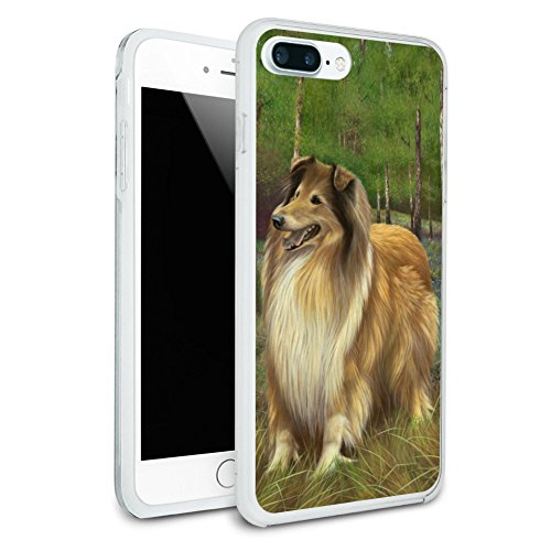 Collie Dog in the Woods Protective Slim Fit Hybrid Rubber Bumper Case Fits Apple iPhone 8 Plus