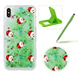 Liquid Case for iPhone X,Plastic Hard Cover for iPhone XS,Herzzer Luxury Deluxe [Colorful Christmas Series Pattern] Funny Dynamic Stars Floating Glitter Sparkle Transparent Protective Case For iPhone XS/iPhone X 5.8 inch + 1 x Free Green Cellphone Kickstand + 1 x Free Green Stylus Pen - Tiny Santa Claus
