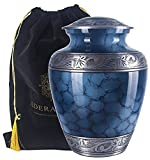 Adult Cremation Urn for Human Ashes by Adera Dreams - Blue Clouds Large Funeral Urn for Adult - with Velvet Carry Pouch - Handcrafted Full Size Burial Urn