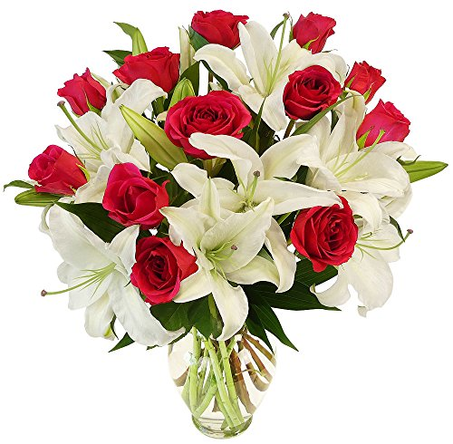 Benchmark Bouquets Hot Pink Roses and White Oriental Lilies, With Vase