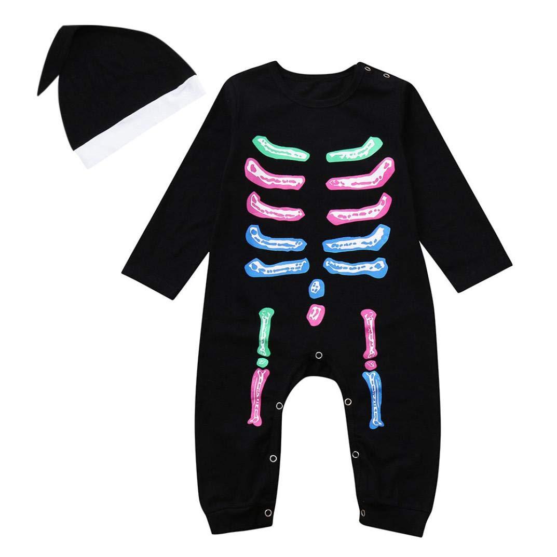 Kolylong Halloween Barboteuse Combinaison Squelette Manches Longues Déguisement Mignonne + + Casquette Chapeau pour Nouveau né Bébé garçons Filles Tenues Ensemble de vêtements en Coton 6 à 24 Mois