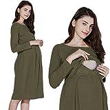 Sweet Mommy Maternity and Nursing Boat Neck Knee Length Tuck Dress Khaki, L