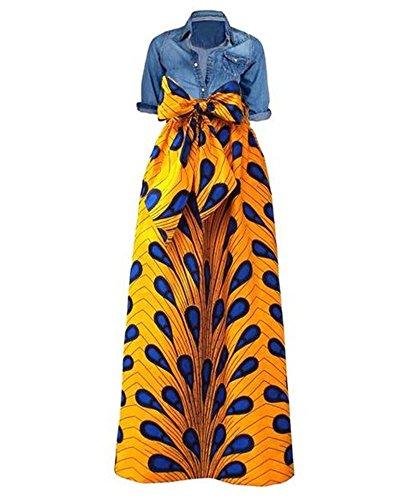 Niufaashion Womens African Print Dashiki Skirt High Waist Ball Gown Long Maxi A Line -