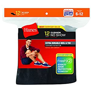 Hanes Men's 12 Pack No Show Socks, Black, 10-13/Shoe Size 6-12