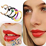 Fake Nose Ring Hoop - 20g 6mm - 8mm Faux Piercing - Body Jewelry - Stainless Steel - Lip Septum - Clip On Nose Rings - All Colors