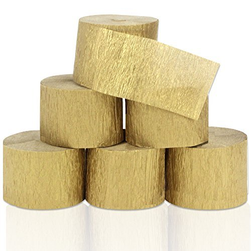 Coceca 82ft Gold Streamers Roll Gold Crepe Paper Streamers, 6 Rolls, for Various Birthday Party Wedding Festival Party Decorations (Party Crepe Streamer)