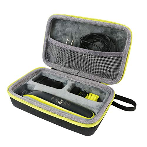 - co2crea Hard Travel Case for Philips Norelco OneBlade QP2520/90 / QP2630/70 / QP2520/72 Face Body hybrid electric trimmer shaver (Black Case + Green Zipper)