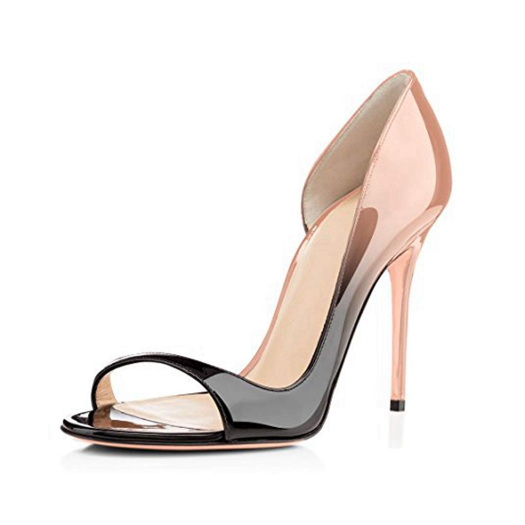 10eebd945d1 Amazon.com: ODOKAY Elegant Sandal for Women Slip-on Black Nude Shoes ...