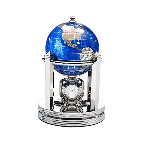 Kalifano Caribbean Blue 3-in. Gemstone Globe and Bright Silver Galleon Rotating Base by Kalifano