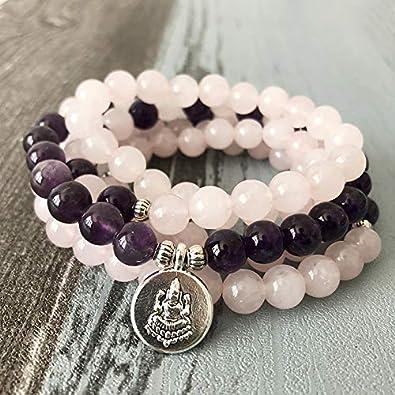 8Mm Meditación Curación Pulsera Rosa Cuarzos Amatista Mala Buda Collar 108 Pulsera De Piedra De Oración con Encanto De Buda