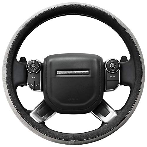 - SEG Direct Microfiber Leather Grey Steering Wheel Cover for F-150 Tundra Range Rover 15.5