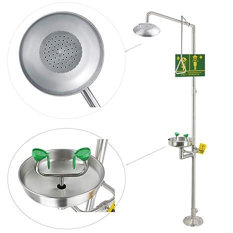 1101-1 Huanyu Emergency Eyewash Station Combination Emergency Shower 304 Stanless Steel Eye Washer for washing showering Eye Face Neck Arm Rescue Supply