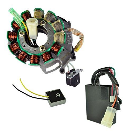 High Output Stator (Kit High Output Stator 200 W + Voltage Regulator Rectifier + High Performance CDI Box For Yamaha YFZ 350 Banshee 1987 1988 1989 1990 1991 1992 1993 1994 OEM Repl. # 2GU-85510-50-00, 2GU-85540-51-00)