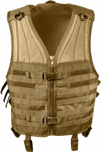 Coyote Tan MOLLE Modular Military Tactical Assault Vest, One Size Fits - Flack Jacket