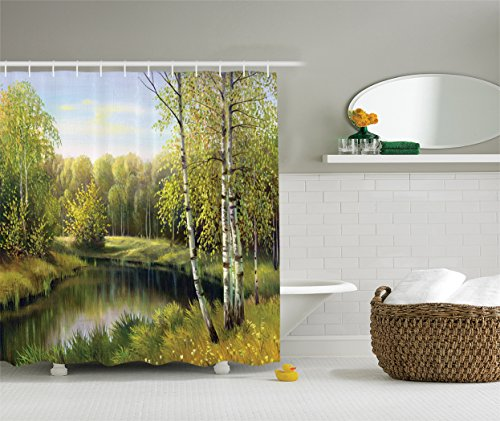 Leafless Tree Branches (Ambesonne Lakehouse Decor Collection, Birch Tree Forest in Autumn with Leafless Branches Along Calm River Oil Painting, Polyester Fabric Shower Curtain, 75 Inches Long, Green Olive Blue Grey)