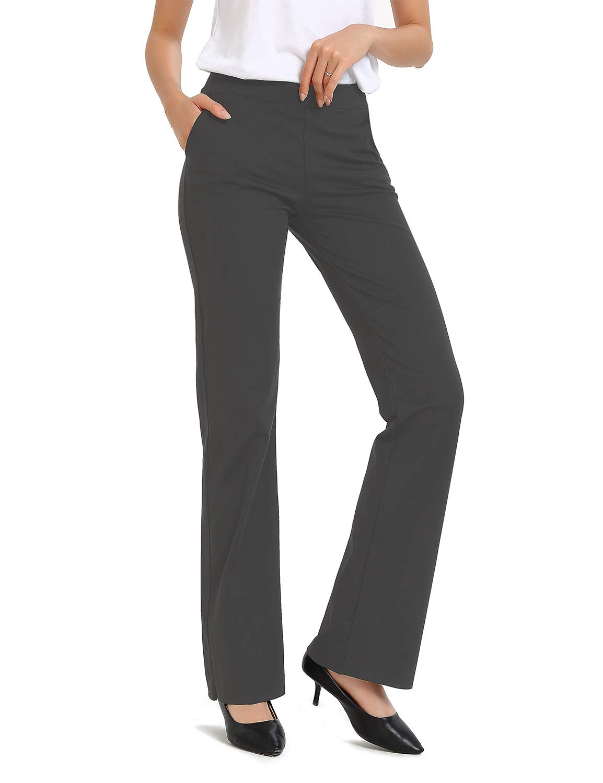 Safort 28''/30''/32''/34'' Inseam Regular Tall Bootleg Yoga Pants, 2 Pockets,Dress Bootcut Yoga Pants, Long Workout Pants, UPF50+,Gray, Large by Safort