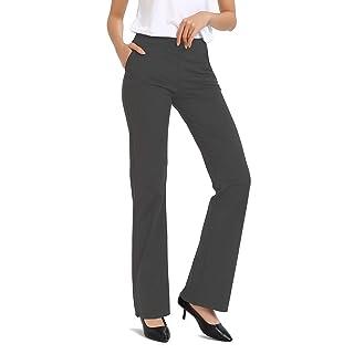 "Safort 28""/30""/32""/34"" Inseam Regular Tall Bootleg Yoga Pants, 2 Pockets,Dress Bootcut Yoga Pants, Long Workout Pants, UPF50+,Gray, Large"