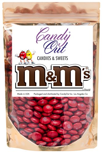 Red m&m 1 Pound Milk Chocolate in CandyOut Sealed Stand Up Bag